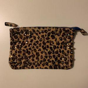 Zara Faux Fur Leopard Studded Clutch 🐆